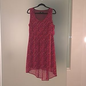 Mossimo high low sleeveless dress pink, red tan
